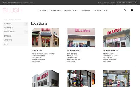 Screenshot of Locations Page shopblush.com - BLUSH - Locations - captured Oct. 9, 2017