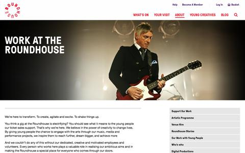 Screenshot of Jobs Page roundhouse.org.uk - Work at the Roundhouse - captured Aug. 21, 2017