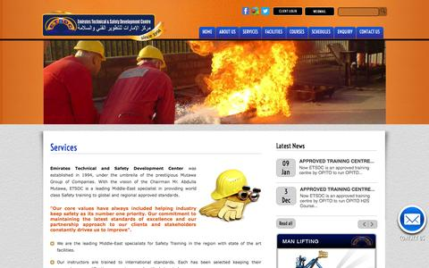 Screenshot of Services Page etsdc.com - Welcome to Emirates Technical & Safety Development Centre  [ETSDC] - captured Oct. 2, 2014