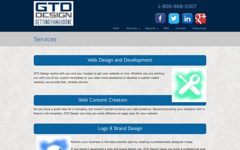 Screenshot of Services Page gtddesign.com - Services | GTD Design - captured Sept. 27, 2014