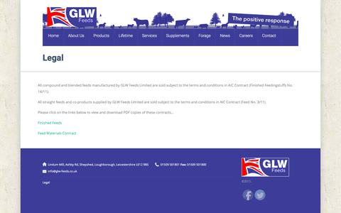 Screenshot of Terms Page glw-feeds.co.uk - Legal | - captured July 11, 2017