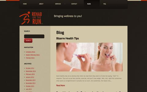 Screenshot of Blog rehabontheruninc.com - Rehab on the Run Inc. | Bringing wellness to you! - captured Nov. 5, 2014