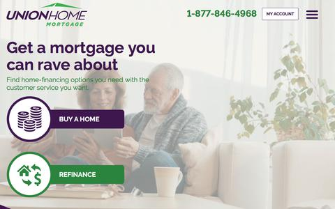 Screenshot of Home Page unionhomemortgage.com - Home | Union Home Mortgage - captured Feb. 9, 2020