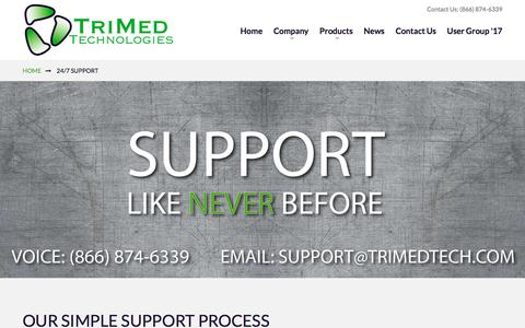 Screenshot of Support Page trimedtech.com - 24/7 Support - captured Nov. 9, 2017