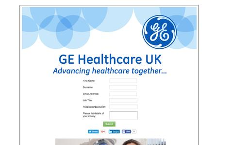 Screenshot of Landing Page gehealthcare.com captured May 31, 2016