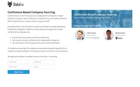 Screenshot of Landing Page datafox.com - Conference-Based Company Sourcing - captured May 25, 2017
