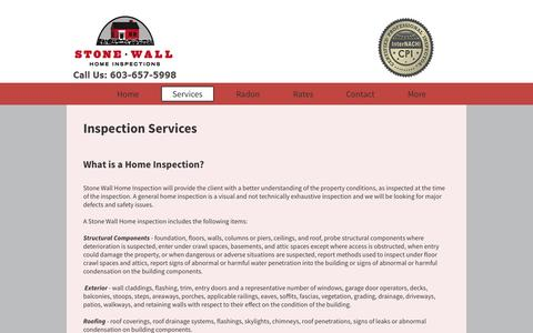 Screenshot of Services Page stonewallhomeinspections.com - Stone Wall Home Inspection Services, Brookline, New Hampshire - captured Oct. 9, 2014