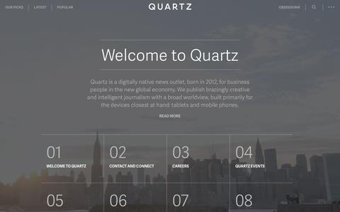 Screenshot of About Page qz.com - About — Quartz - captured Jan. 7, 2017