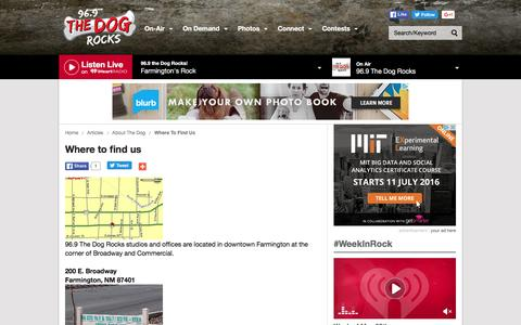 Screenshot of Contact Page iheart.com - Where to find us | 96.9 the Dog Rocks! - captured June 1, 2016