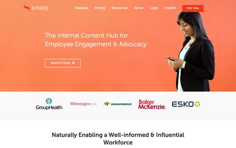 Screenshot of Home Page smarp.com - The Leading Employee Engagement & Advocacy Platform | Smarp - captured July 13, 2018