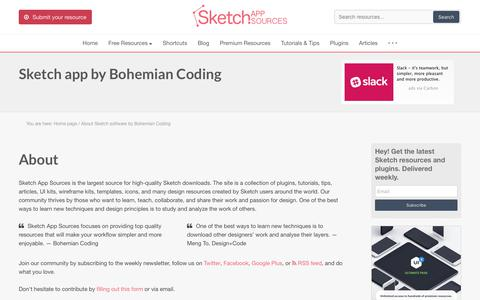 Screenshot of About Page sketchappsources.com - History and all features Sketch 2 and Sketch 3 Software by Bohemian Coding - captured June 23, 2017