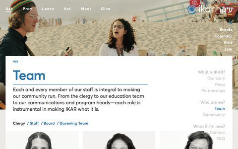 Screenshot of Team Page ikar-la.org - Team – IKAR - captured Sept. 30, 2017