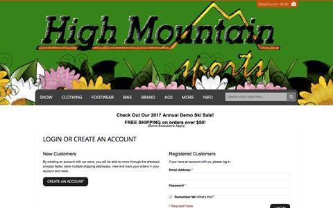 Screenshot of Login Page highmountainsports.com - Customer Login - captured May 19, 2017