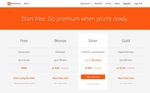 Screenshot of Pricing Page weekdone.com - Packages and prices - Weekdone - captured Sept. 17, 2014