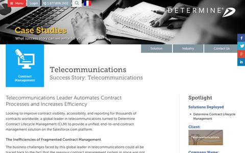 Screenshot of Case Studies Page determine.com - Telecommunications | Determine, Inc. - captured Aug. 18, 2017