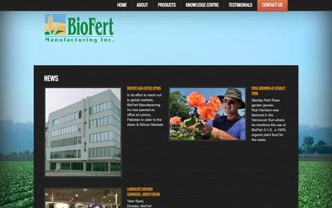 Screenshot of Press Page biofert.net - News - captured Oct. 27, 2014
