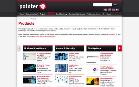 Screenshot of Products Page pointer.co.uk - Pointer Ltd Security and Fire Systems Integrators - captured Sept. 26, 2014