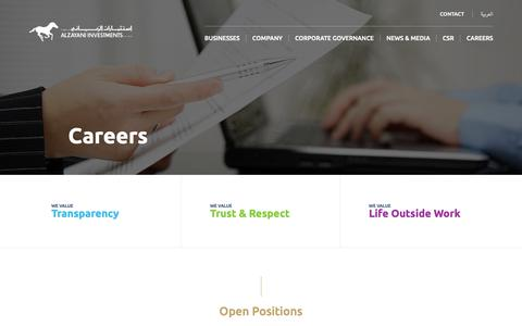 Screenshot of Jobs Page alzayani.com - Careers  |  Al Zayani Investments - captured Oct. 3, 2018