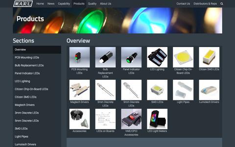 Screenshot of Products Page leds.co.uk - Marl International Ltd :: Products - captured Nov. 27, 2016