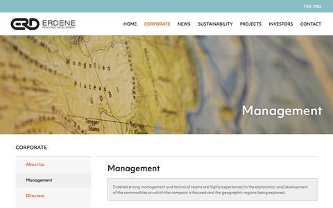 Screenshot of Team Page erdene.com - Management   Erdene Resource Development Corp. - captured Sept. 26, 2018