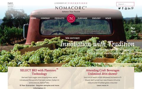 Screenshot of Home Page nomacorc.com - Nomacorc | Advance Your Passion - captured Feb. 17, 2016