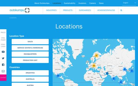 Screenshot of Locations Page outokumpu.com - Outokumpu locations around the world | Outokumpu - captured Oct. 20, 2018