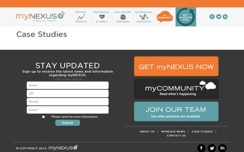 Screenshot of Case Studies Page mynexuscare.com - Case Studies - myNEXUSmyNEXUS - captured Oct. 26, 2014
