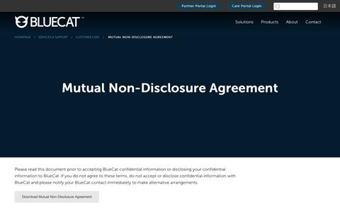 Screenshot of Support Page bluecatnetworks.com - Mutual Non-Disclosure Agreement - BlueCat - captured Sept. 29, 2017