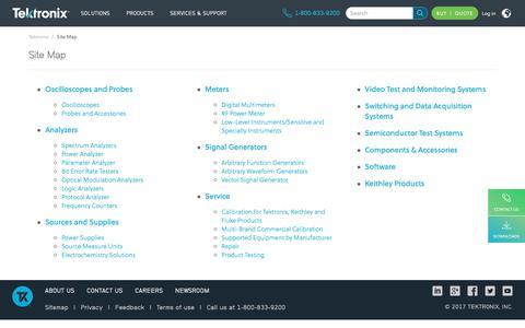 Screenshot of Site Map Page tek.com - Site Map | Tektronix - captured Sept. 3, 2017