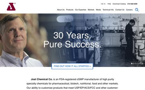 Screenshot of Home Page jostchemical.com - Jost Chemical Co. Specialty Chemical Manufacturer - captured Nov. 27, 2016
