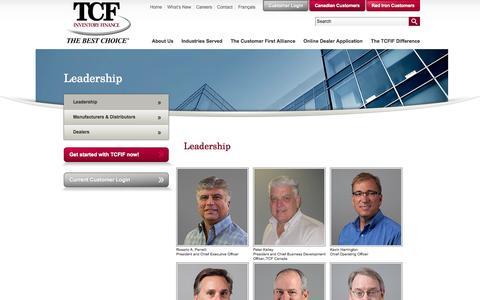 Screenshot of Team Page tcfif.com - Leadership - TCF Inventory Finance, Inc. - captured Oct. 26, 2014