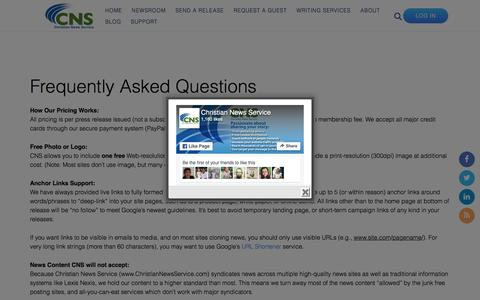 Screenshot of FAQ Page christiannewsservice.com - FAQ's - captured July 13, 2016