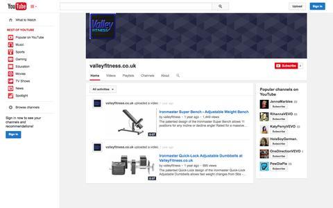 Screenshot of YouTube Page youtube.com - valleyfitness.co.uk  - YouTube - captured Nov. 3, 2014