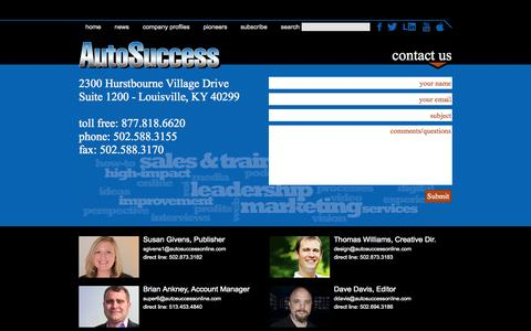 Screenshot of Contact Page autosuccessonline.com - Contact Us - captured Oct. 4, 2014
