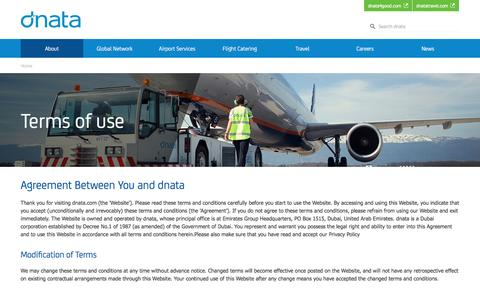 Screenshot of Terms Page dnata.com - Terms of use | dnata - captured Aug. 2, 2016