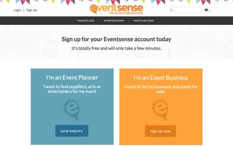 Screenshot of Signup Page eventsense.co.uk - Sign Up | List your business for free | Eventsense - captured Dec. 12, 2015
