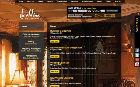 Screenshot of Press Page theoldinn.com - Short Breaks Northern Ireland | The Old Inn, Crawfordsburn | News - captured Oct. 29, 2014