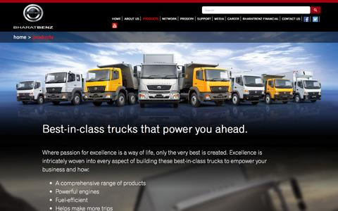 Screenshot of Products Page bharatbenz.com - Range of BharatBenz Trucks | Fuel efficient and reliable commercial vehicles - captured Jan. 17, 2016