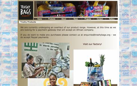 Screenshot of Products Page trashybags.org - Trashy Bags Products. Eco-friendly recycled plastic bags and gifts made in Africa. - captured Nov. 5, 2017