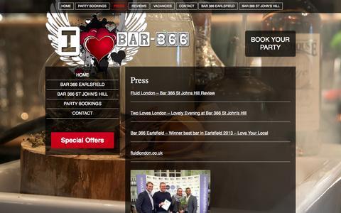 Screenshot of Press Page bar-366.com - Press - Bar 366 - captured Oct. 5, 2014
