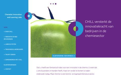 Screenshot of Home Page chillabs.com - CHILL versterkt de innovatiekracht van bedrijven in de chemie - captured Nov. 5, 2016