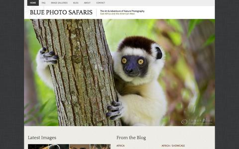 Screenshot of Home Page bluephotosafaris.com - Blue Photo Safaris: The Art & Adventure of Nature Photography - captured Sept. 30, 2014