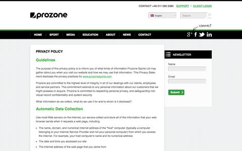 Screenshot of Privacy Page prozonesports.com - PRIVACY POLICY - Prozone Sports - captured Sept. 19, 2014