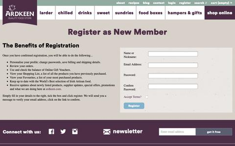 Screenshot of Signup Page ardkeen.com - Ardkeen Quality Food Store, Artisan Irish Food - captured Oct. 4, 2018