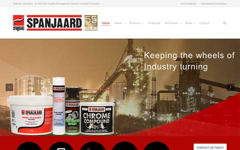 Screenshot of Home Page spanjaard.biz - Quality Supplier of Special Lubricants and Chemical Products - captured June 15, 2017