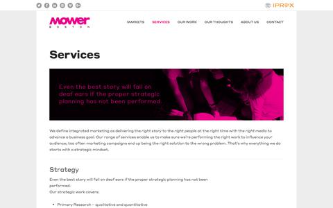 Screenshot of Services Page hbagency.com - Services: Public Relations, Content Marketing, Digital Marketing, Events, Social Media, Creative Services, Branding, Video and Animation — Mower Boston - captured Aug. 18, 2019