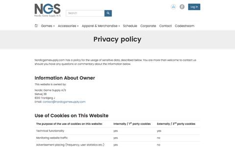 Screenshot of Privacy Page nordicgamesupply.com - Privacy policy | Nordic Game Supply - captured June 14, 2017