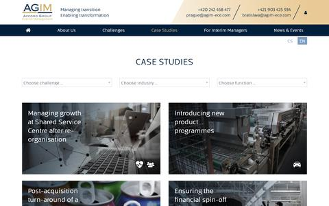 Screenshot of Case Studies Page agim-ece.com - AGIM | Case Studies - captured Oct. 3, 2018