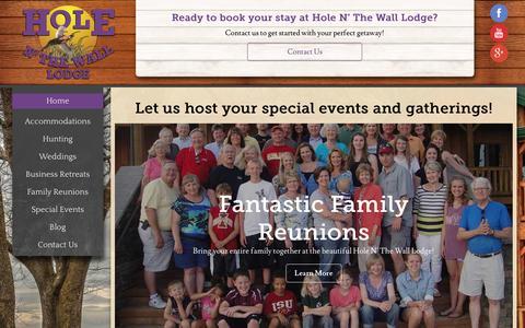 Screenshot of Home Page holenthewalllodge.com - Hole N' The Wall Lodge - Akron, IA - captured June 23, 2016