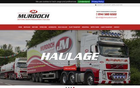 Screenshot of Home Page jmmurdoch.com - Skip Hire | Waste Management | Haulage | Glasgow | Scotland | J & M Murdoch and Son Ltd - captured Oct. 1, 2018